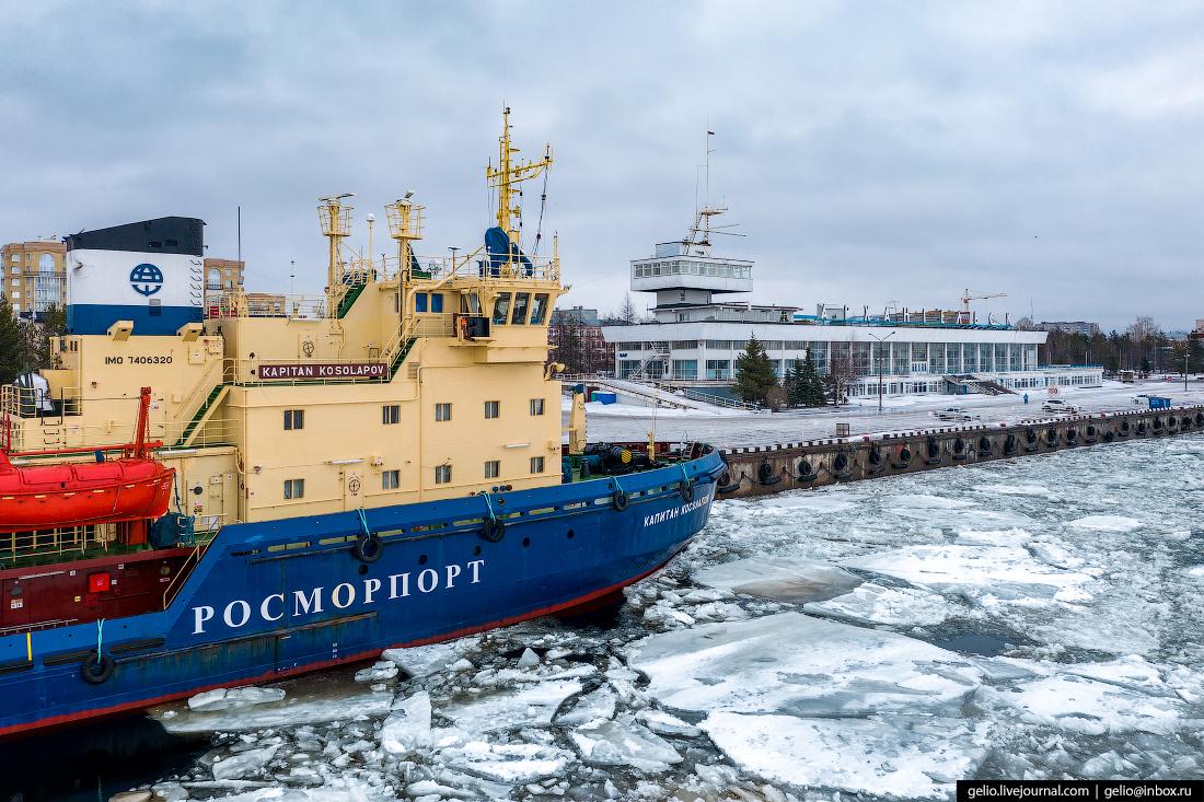 Архангельск с высоты Морской-речной вокзал