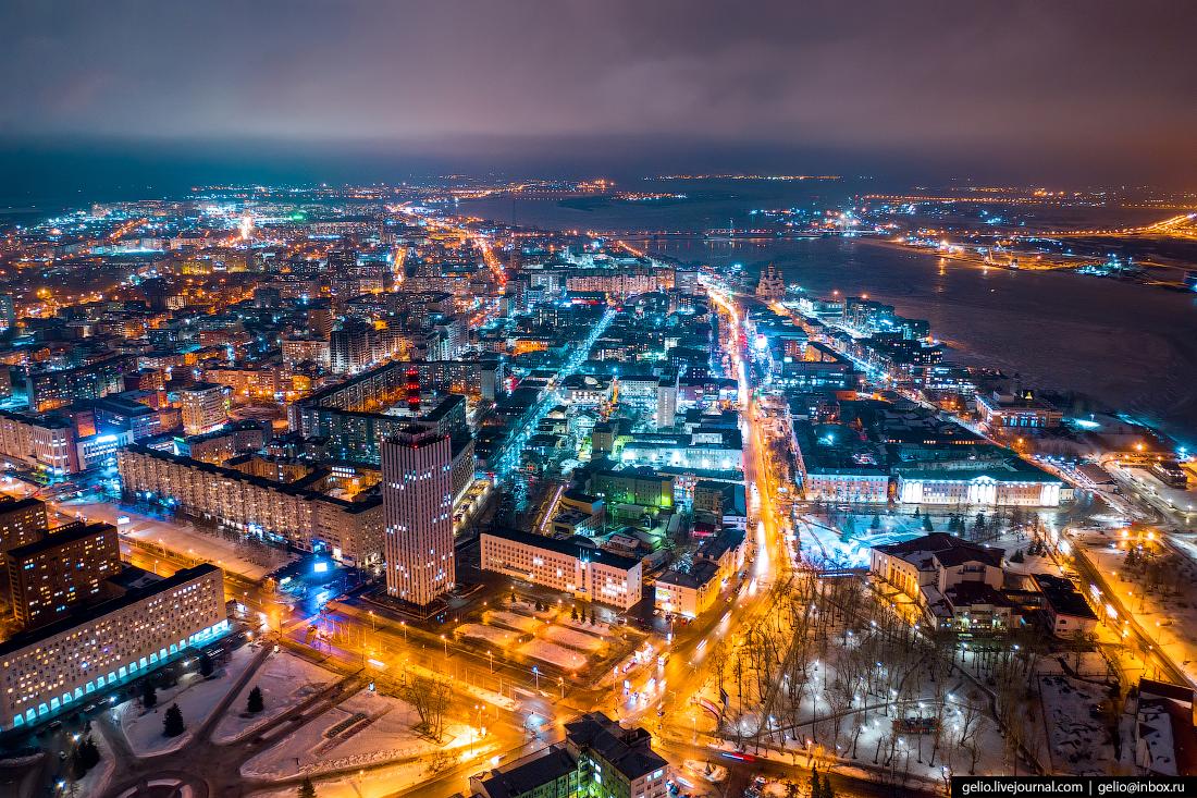 Архангельск с высоты Троицкий проспект