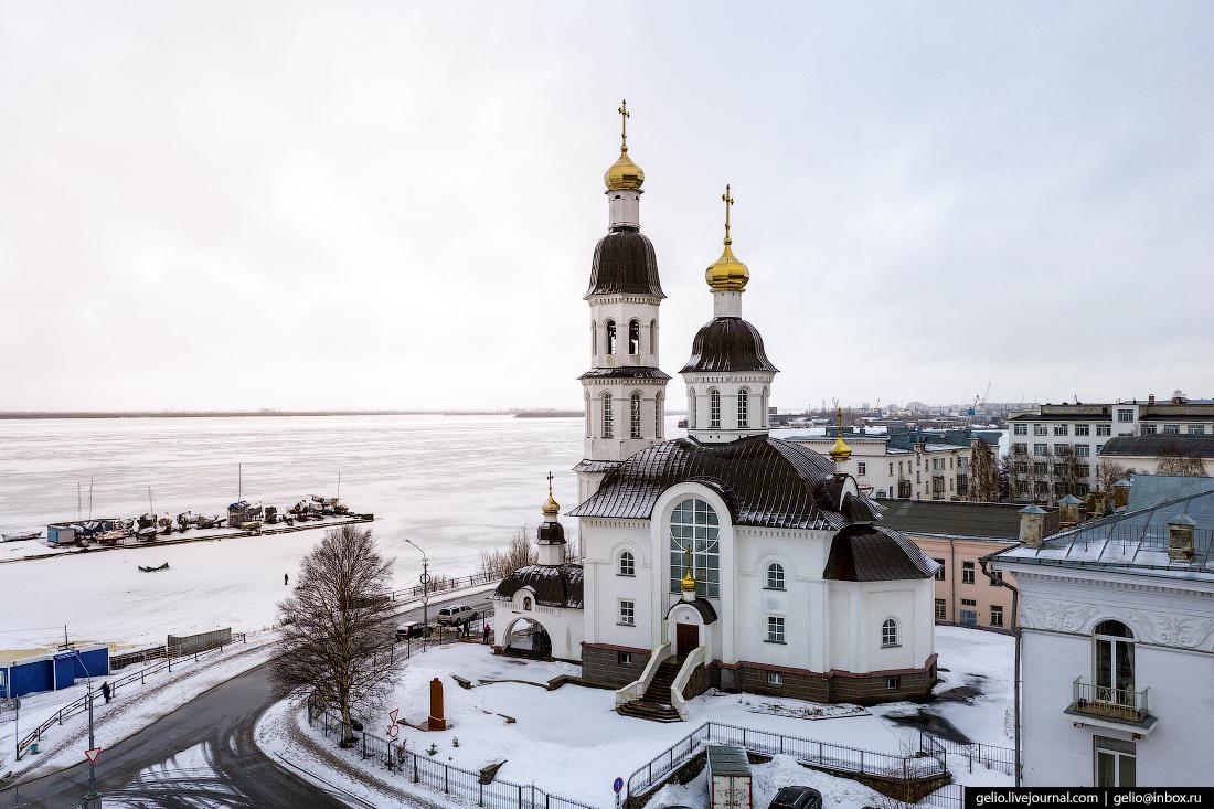 Архангельск с высоты Храм Успения Пресвятой Богородицы