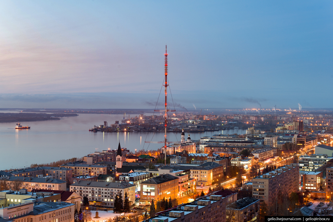 Архангельск с высоты Вышка телецентра