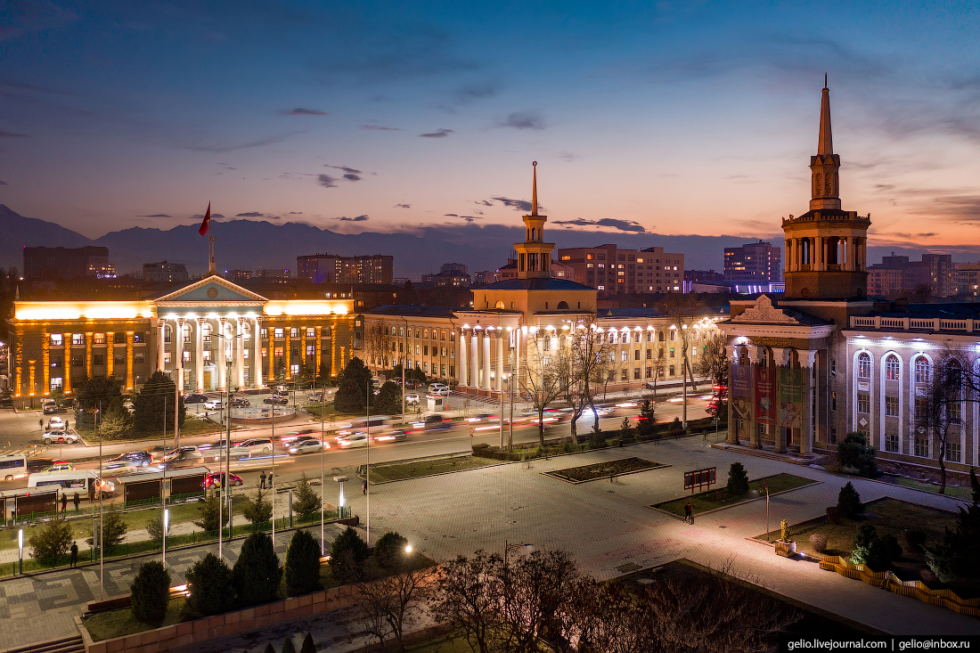 Bishkek Бишкек с высоты сталинки шпили