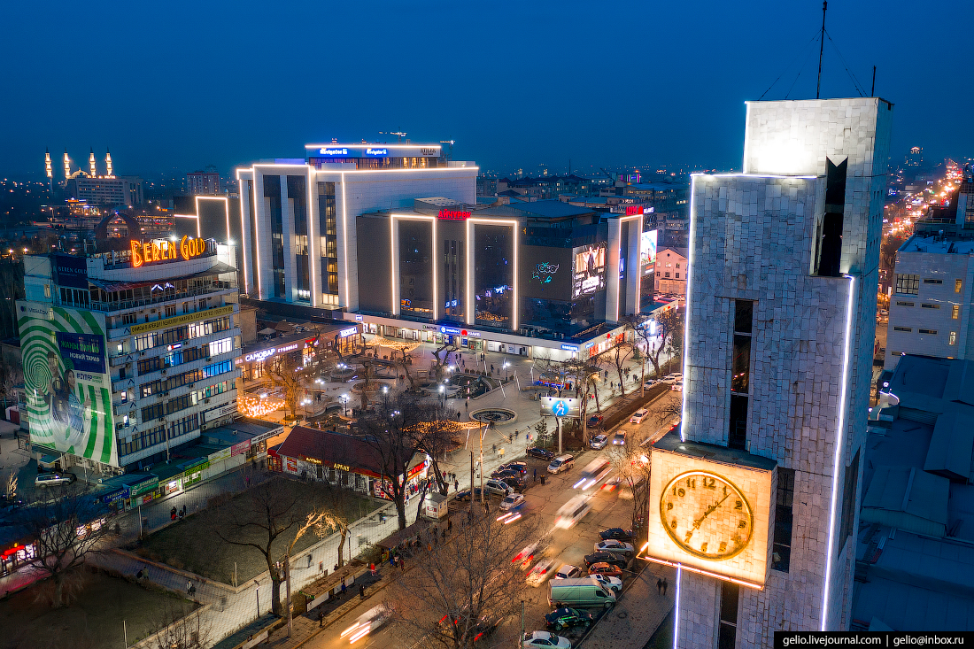 Bishkek Бишкек с высоты Башня с часами у Кыргызтелекома