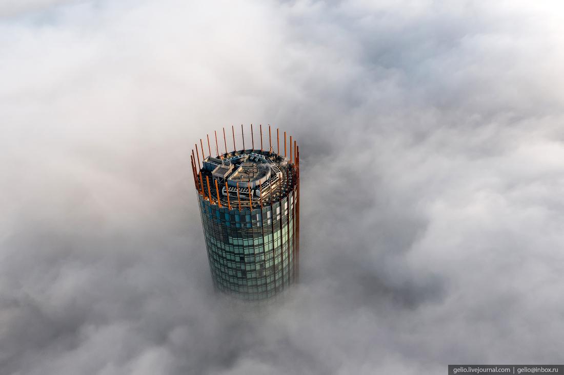 Виды Екатеринбург с высоты туман башня исеть