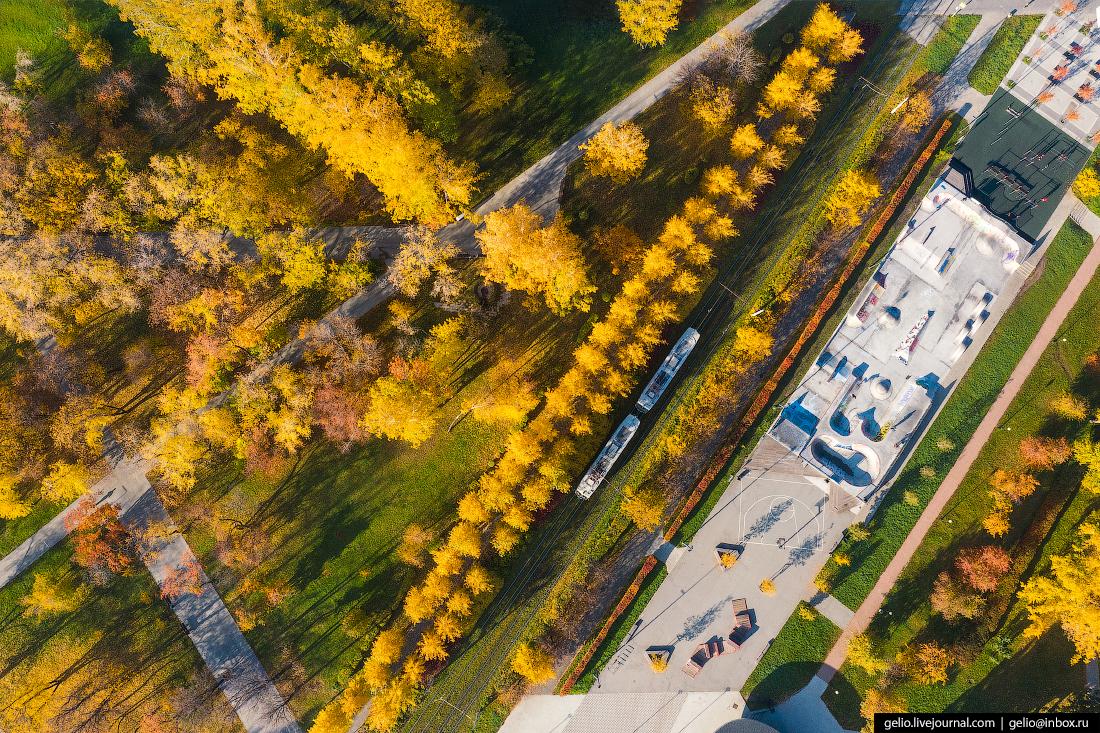 Виды Екатеринбург с высоты Парк у Вечного огня на площади Коммунаров