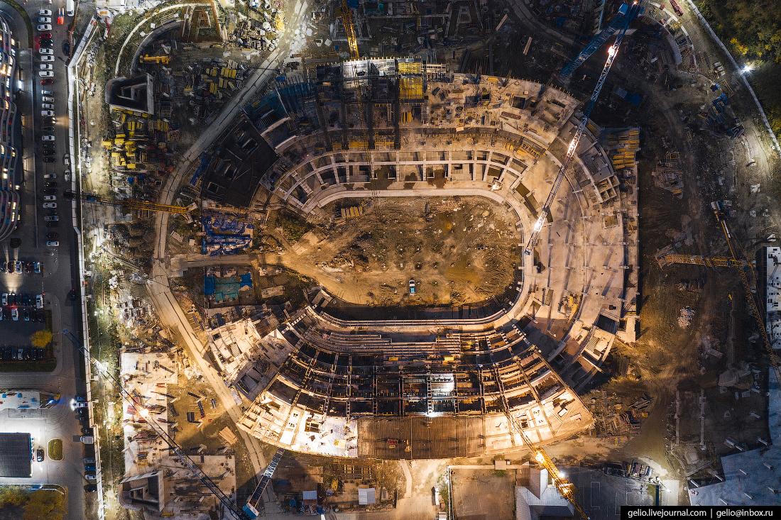 Виды Екатеринбург с высоты Строительство ледовой арены