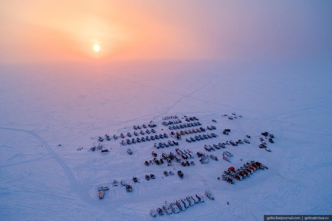 Полевой лагерь, поиск разведка нефти, крайний север, сейсморазведка
