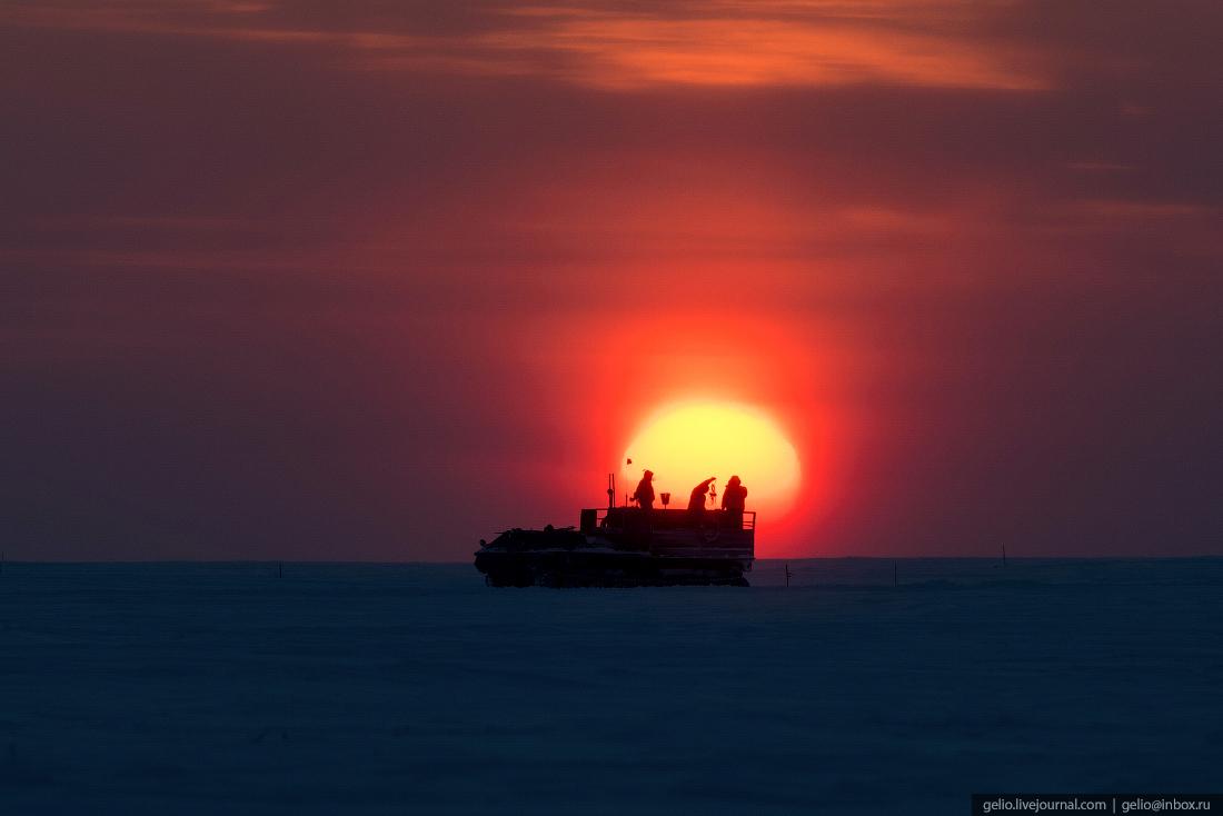 закат, поиск разведка нефти, крайний север, сейсморазведка