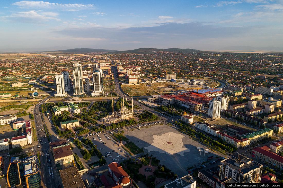 Грозный с высоты Площадь Ахмата Кадырова