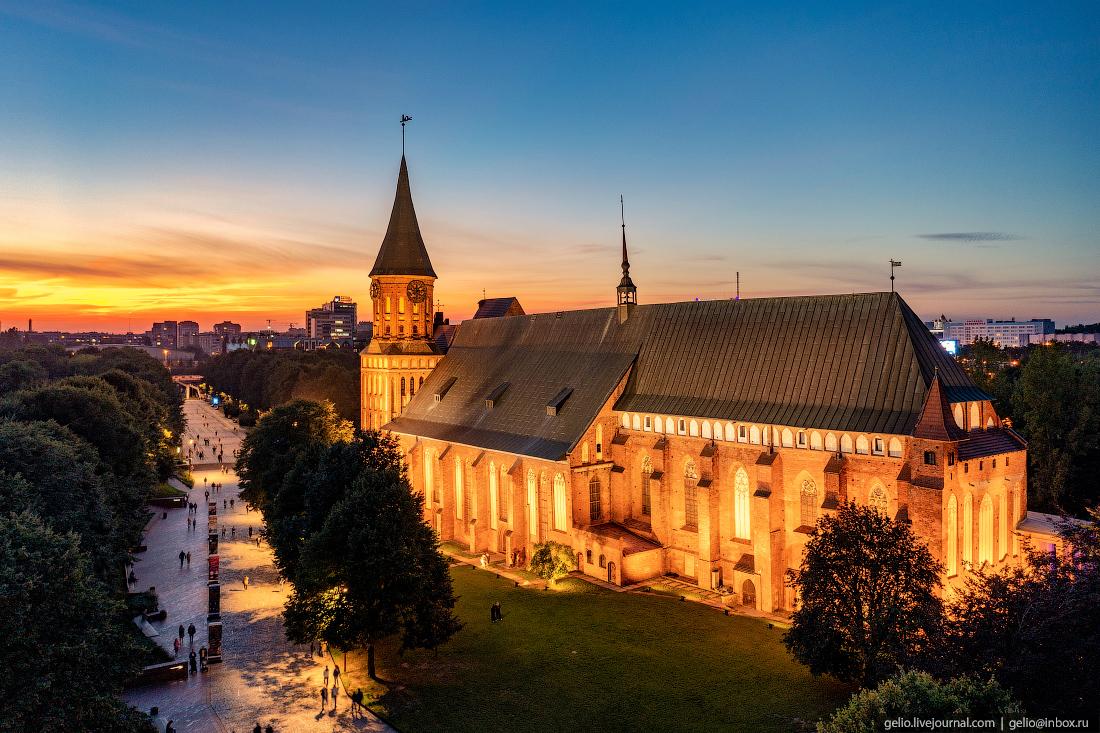 калининград, калининград с высоты, Кафедральный собор, подсветка