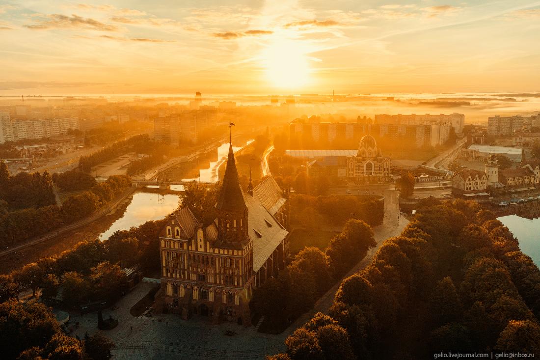 калининград, калининград с высоты, Кафедральный собор, рассвет, закат