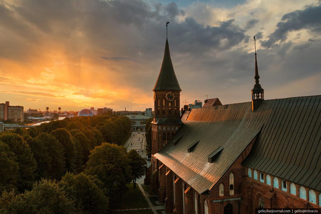 калининград, калининград с высоты, Кафедральный собор, закат