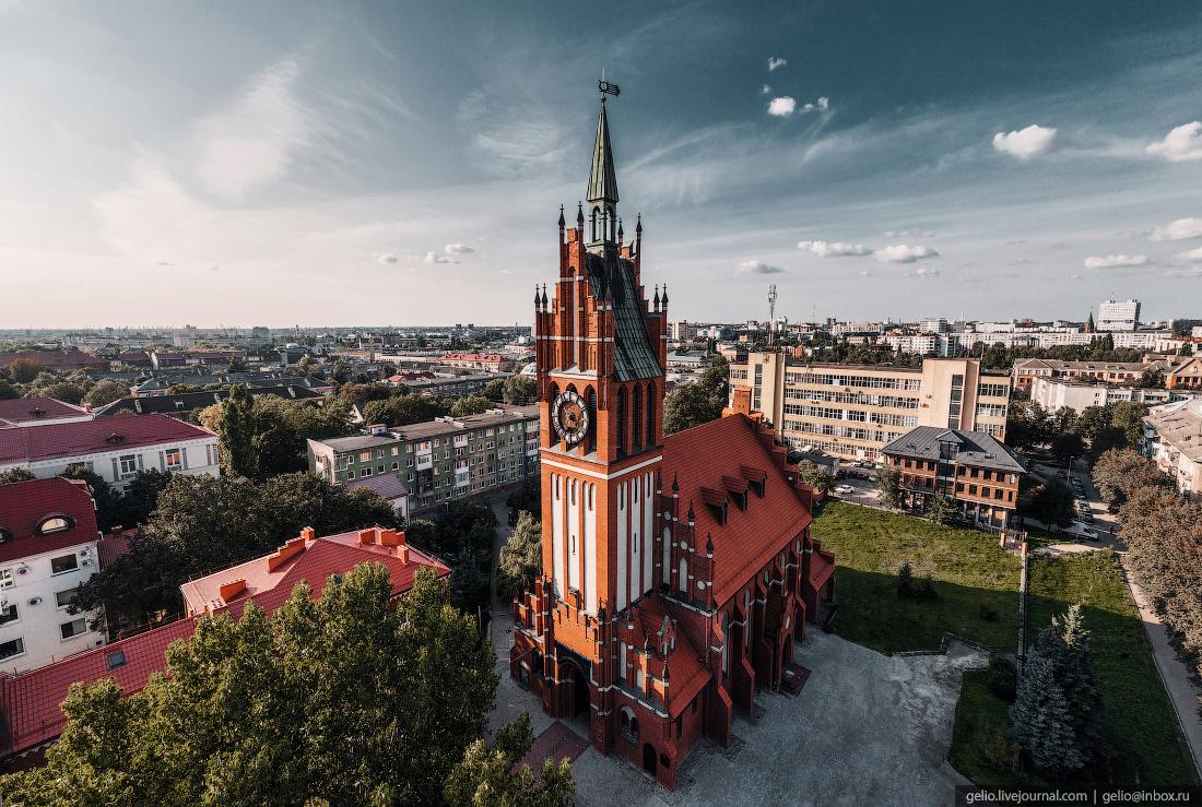 калининград, калининград с высоты, филармония, кирха Святого Семейства