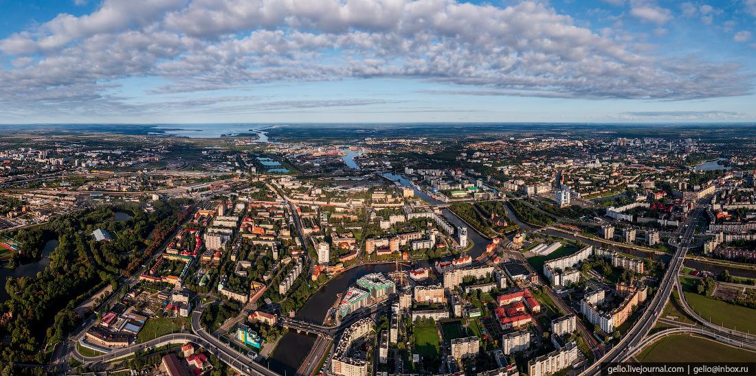 калининград, калининград с высоты, Преголя, панорама
