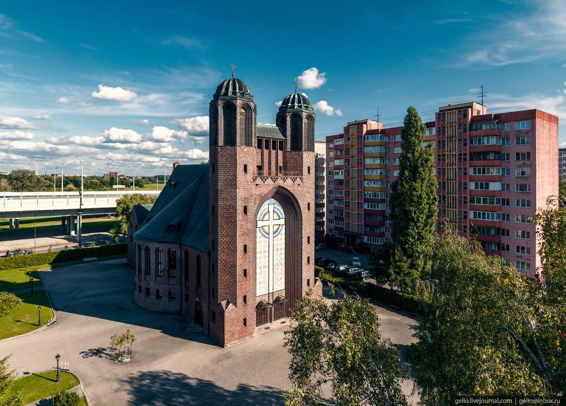 калининград, калининград с высоты, Крестовоздвиженский собор, Кирха Креста.