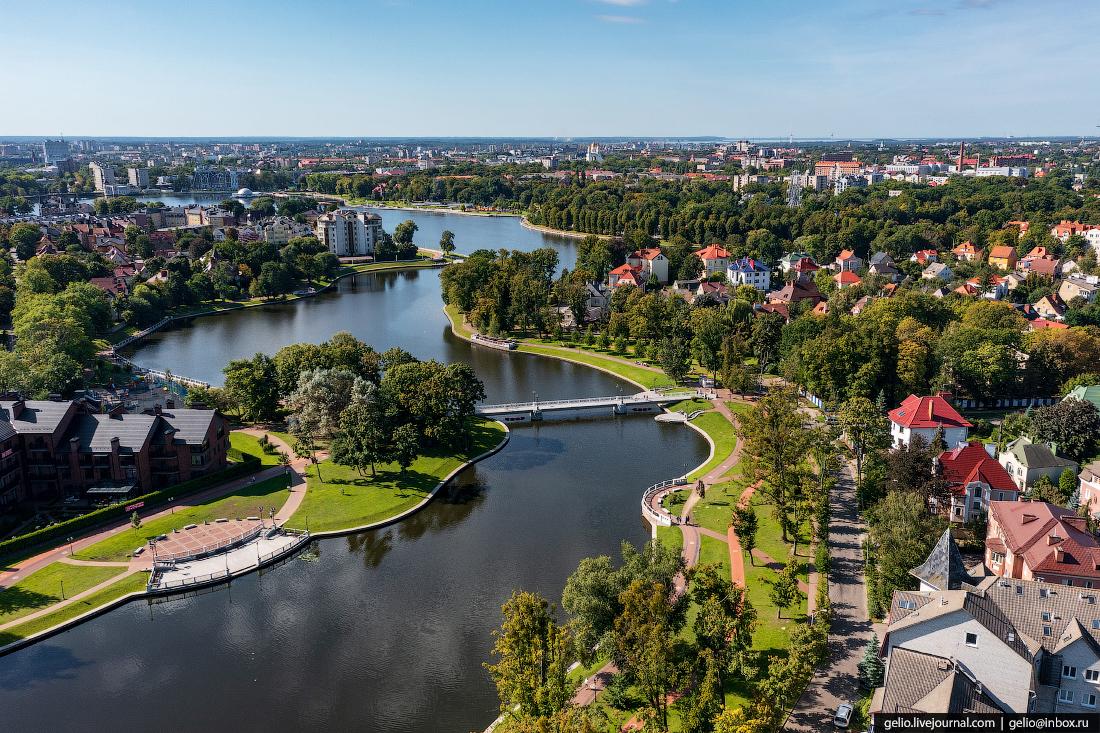 калининград, калининград с высоты, мост Лебединый, пруд