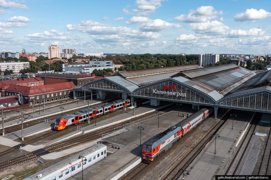 калининград, калининград с высоты, вокзал, поезда, пути