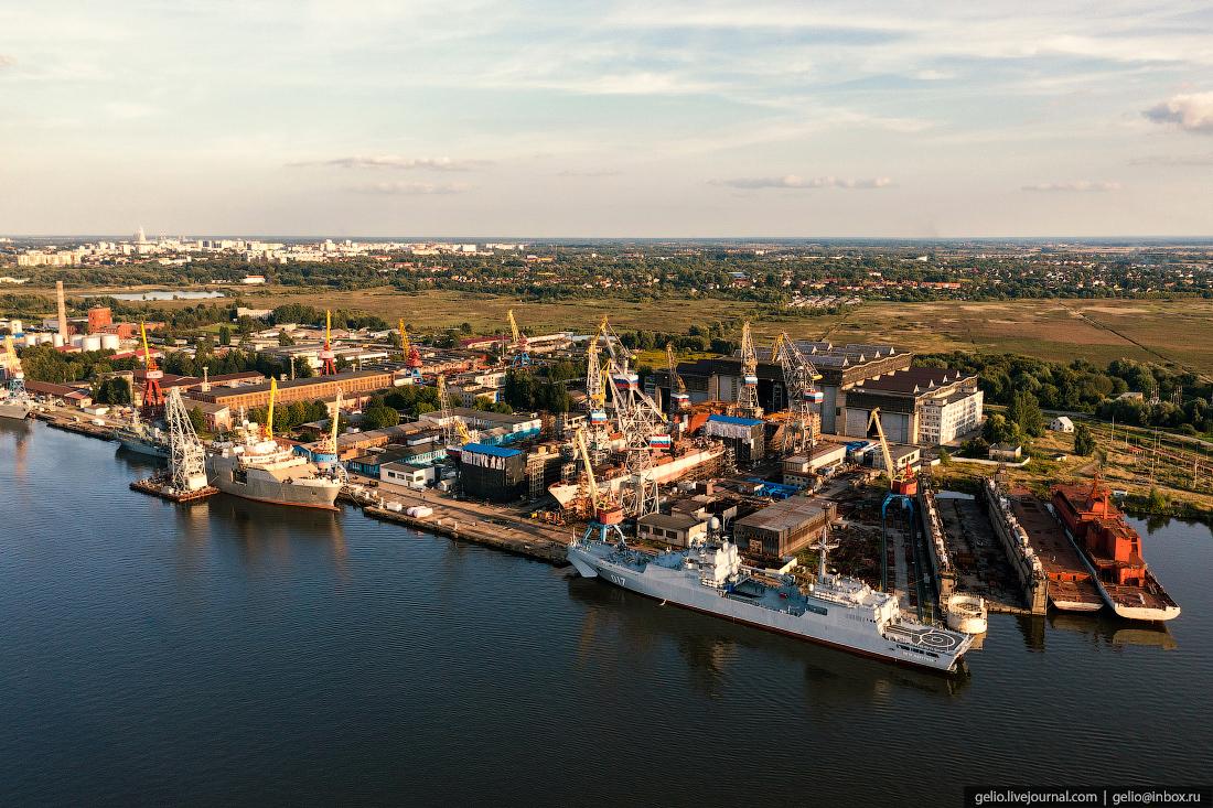 калининград, калининград с высоты, судостроительный завод, янтарь
