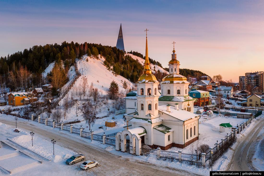 Ханты-Мансийск с высоты Храм Покрова Святой Богородицы