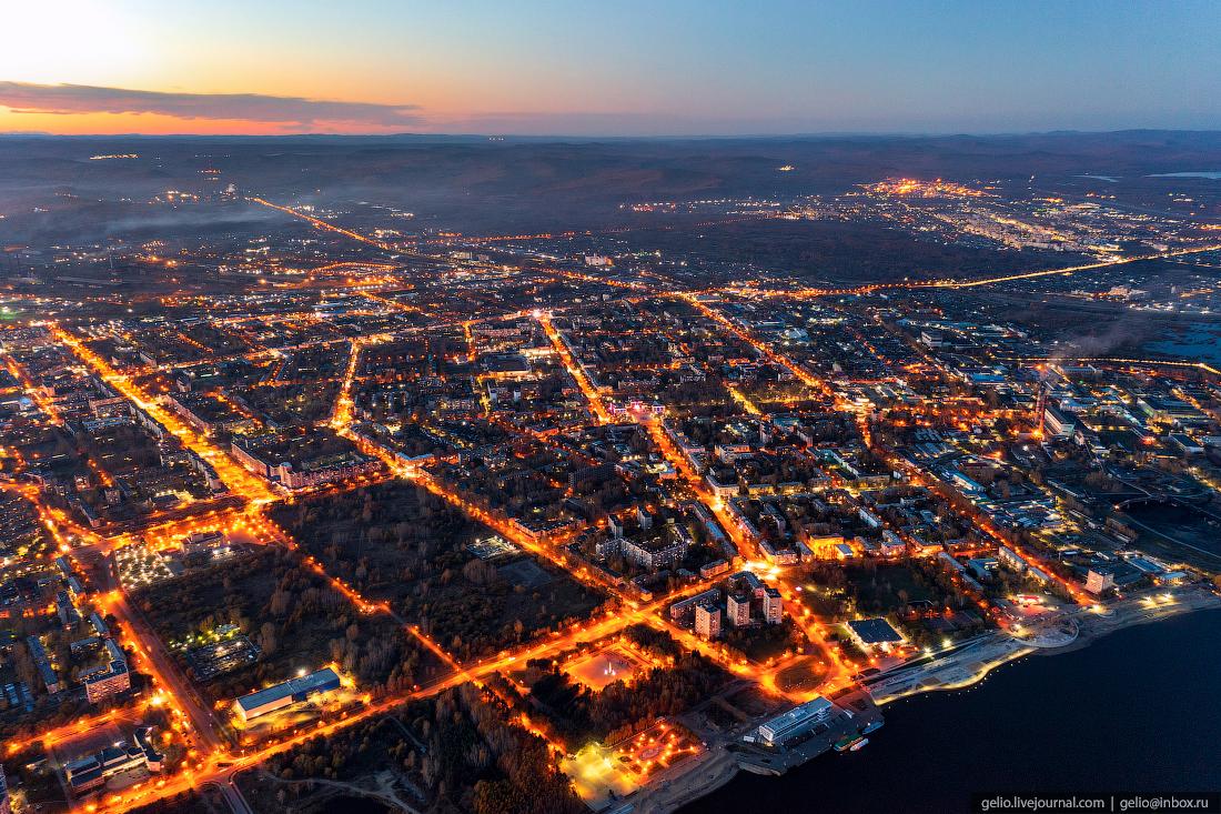 Комсомольск-на-Амуре с высоты, комса, ночной город