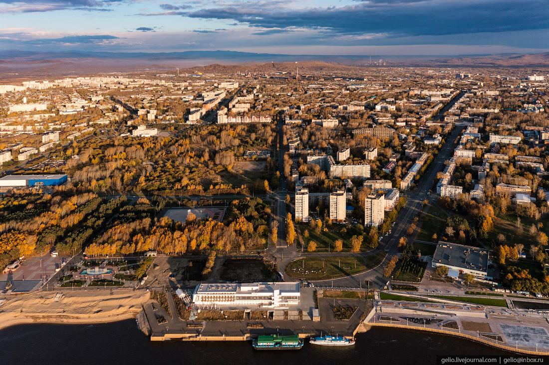Комсомольск-на-Амуре с высоты, комса, набережная, речной вокзал