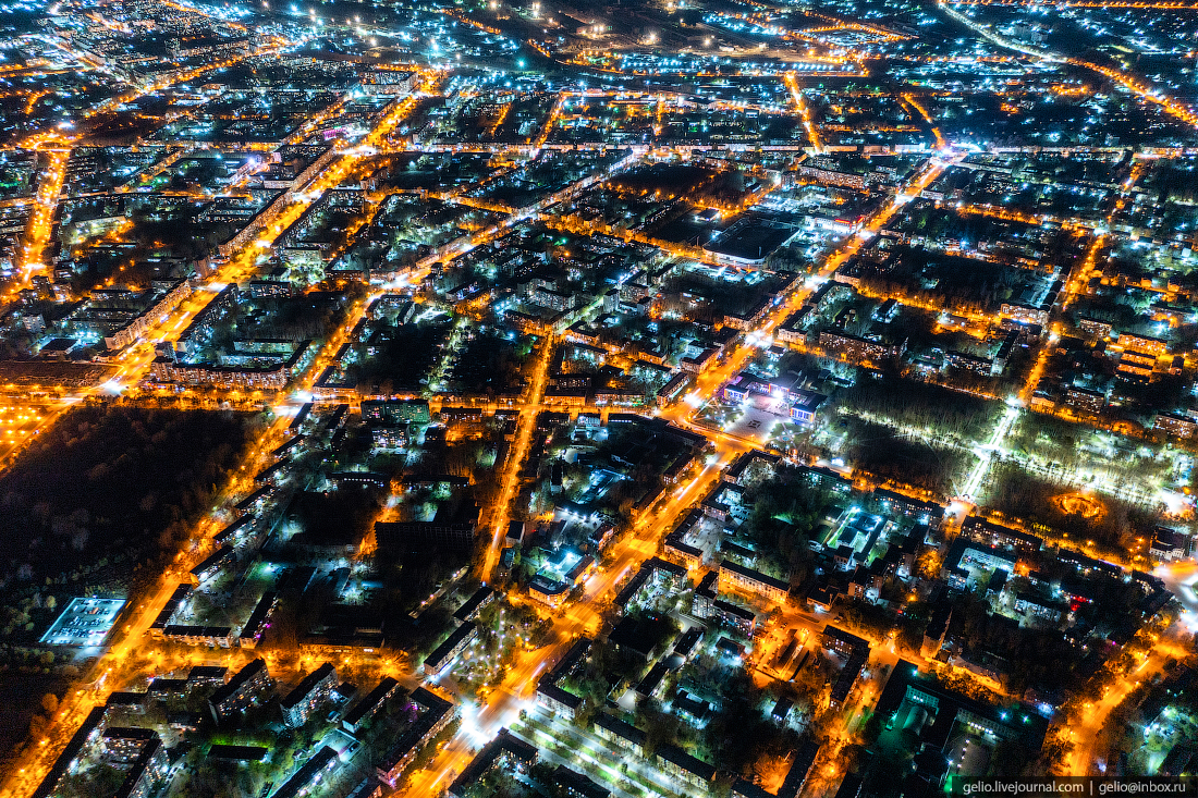 Комсомольск-на-Амуре с высоты, комса, ночной город, огни, вечерний
