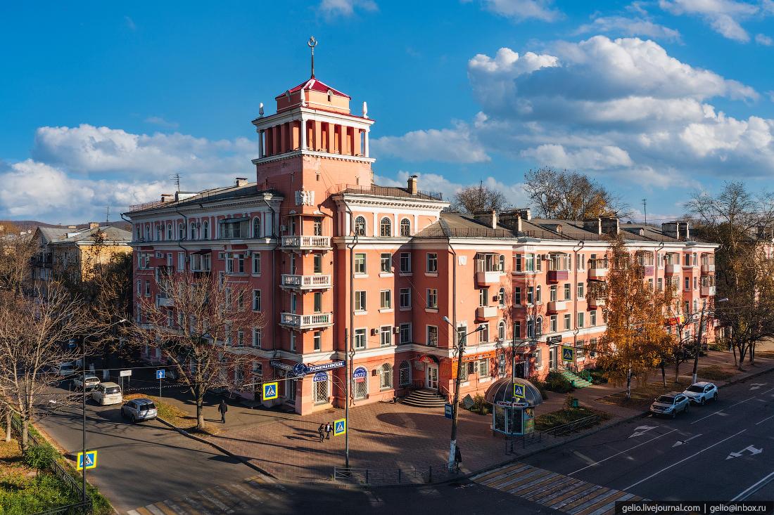 Комсомольск-на-Амуре с высоты, комса, архитектура