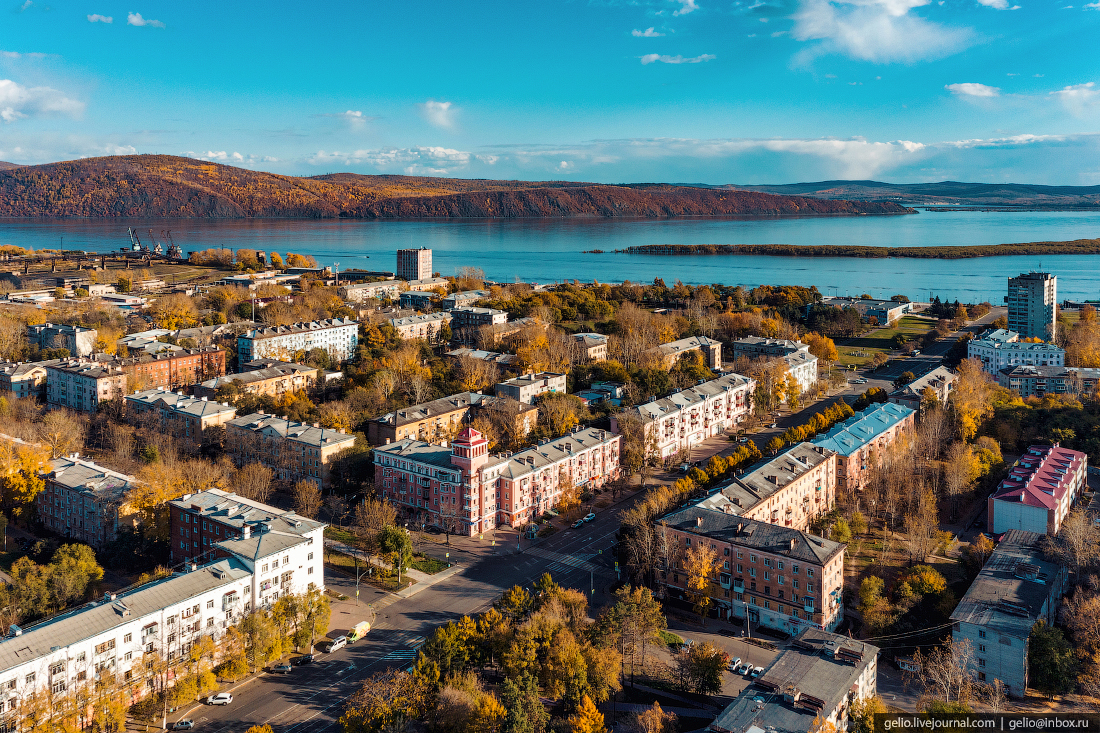 Комсомольск-на-Амуре с высоты, комса, проспект мира
