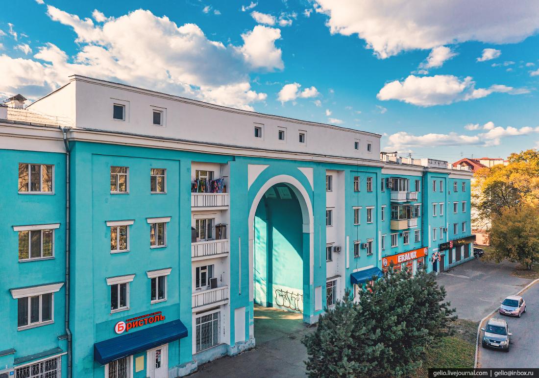 Комсомольск-на-Амуре с высоты, комса, Жилой дом с аркой