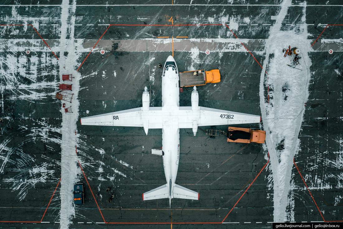 красноярск, аэропорт черемшанка, самолёт ан-26 сверху