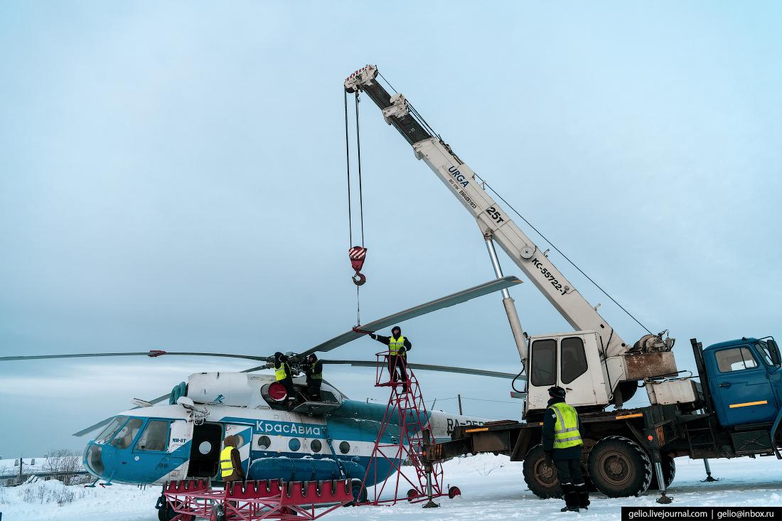 снятие лопастей, вертолёт Ми-8, Красавиа