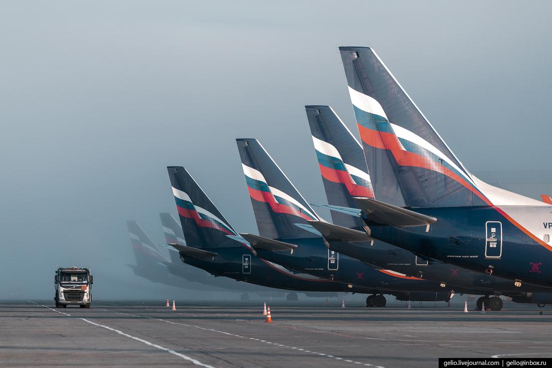 Аэропорт Красноярск Емельяново Шесть Boeing 737-800 Аэрофлота