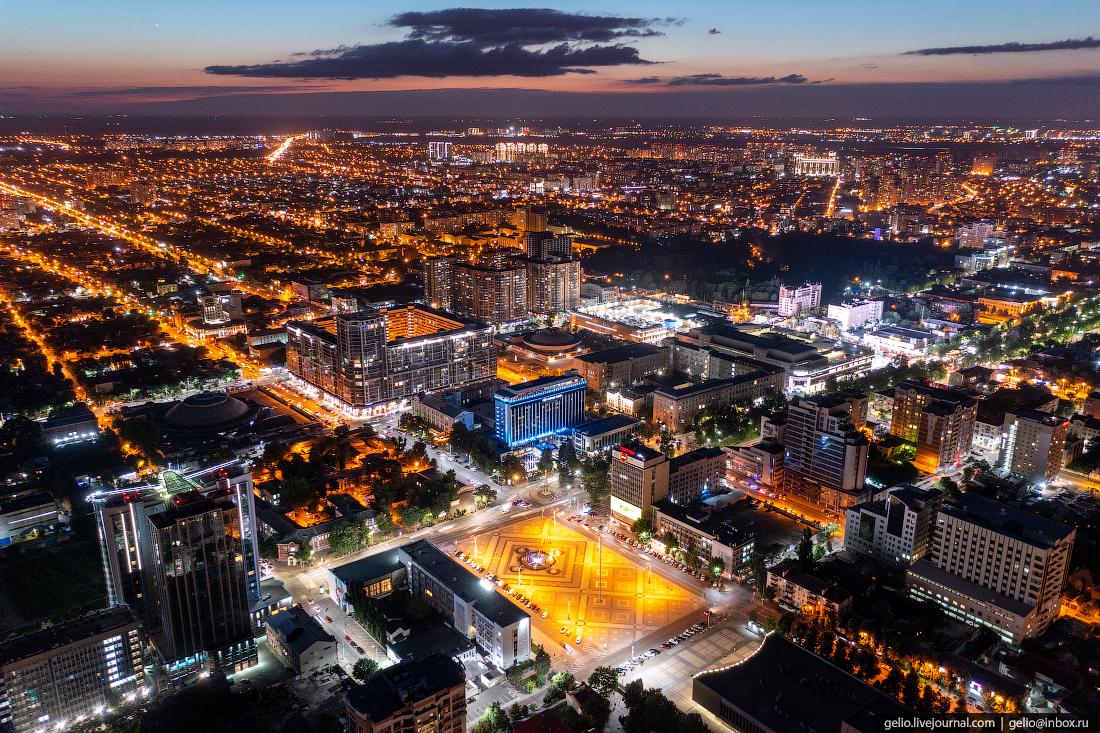 краснодар, краснодар с высоты, ночной город