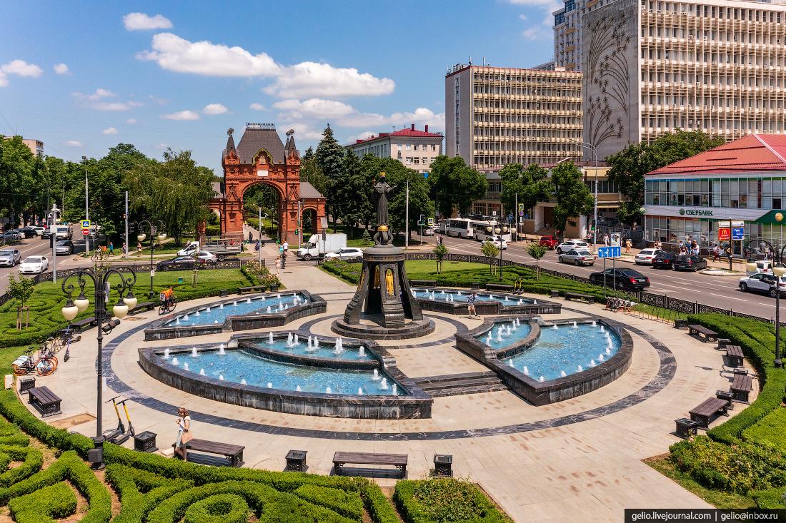 краснодар, краснодар с высоты, Свято-Екатерининский фонтан