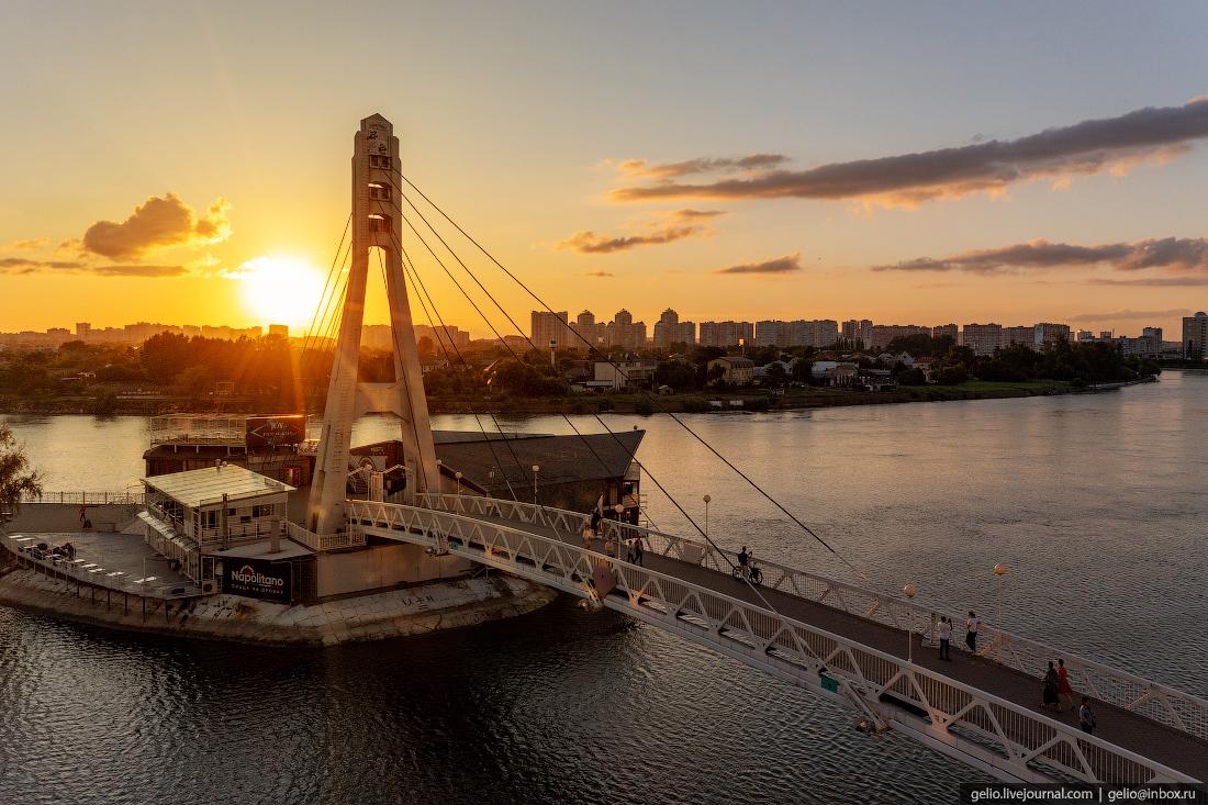 краснодар, краснодар с высоты, набережная, река кубань, поцелуев мост