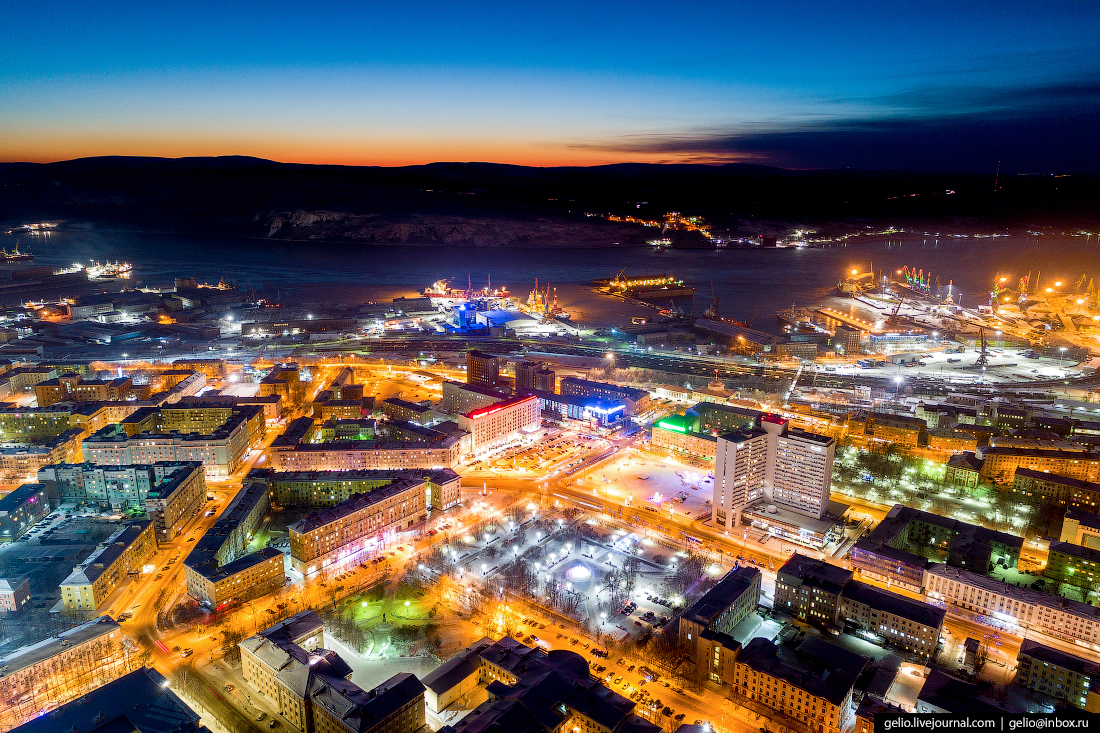 фото Мурманска с высоты, площадь пять углов