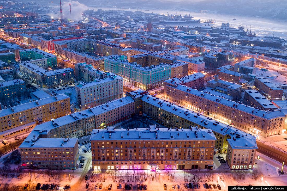 фото Мурманска с высоты, архитеутура