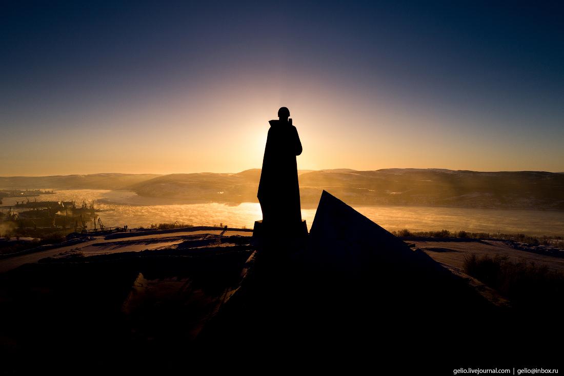 Алёша, Мурманск с высоты, монумент, зелёный мыс