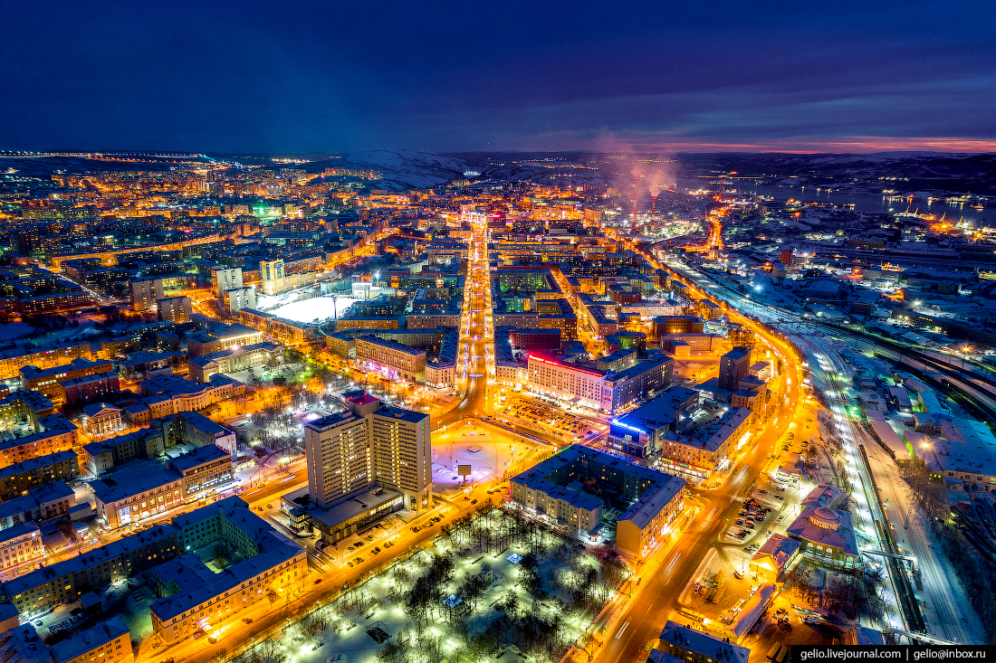 фото Мурманска с высоты, проспект ленина, площадь пять углов