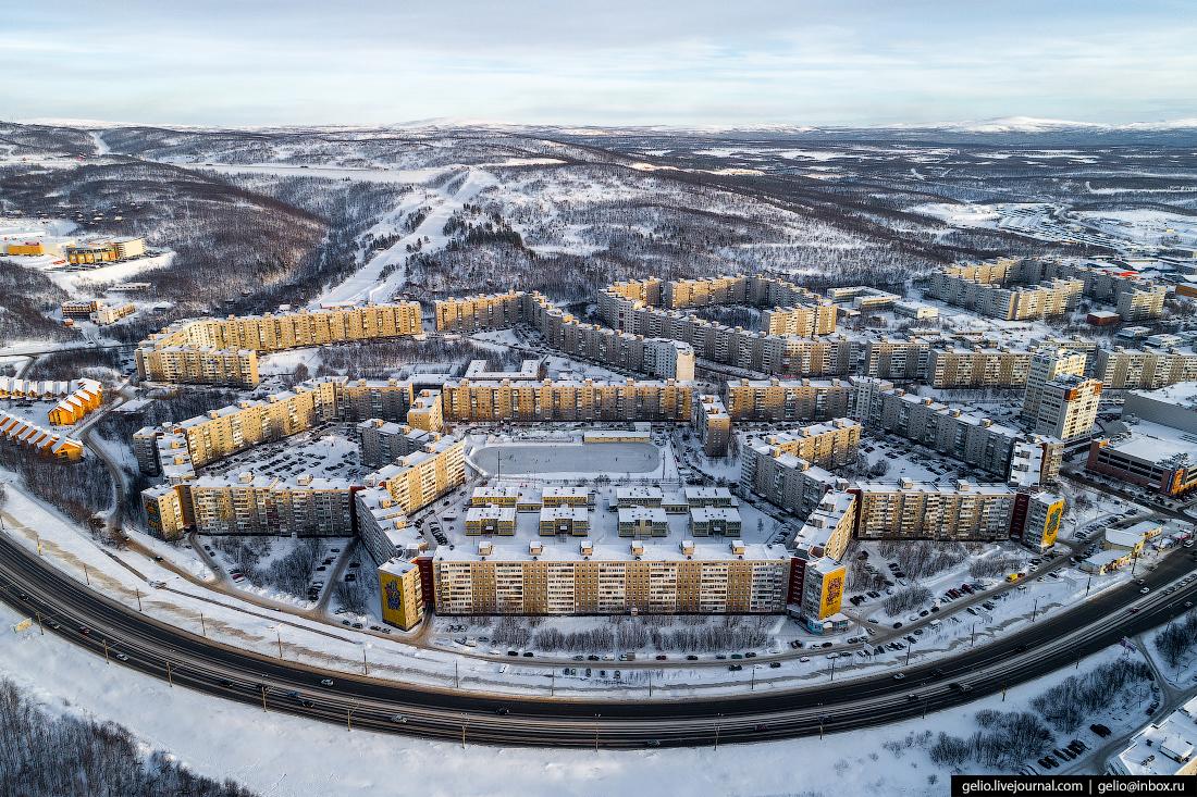 Самый длинный жилой дом в России, Мурманск с высоты
