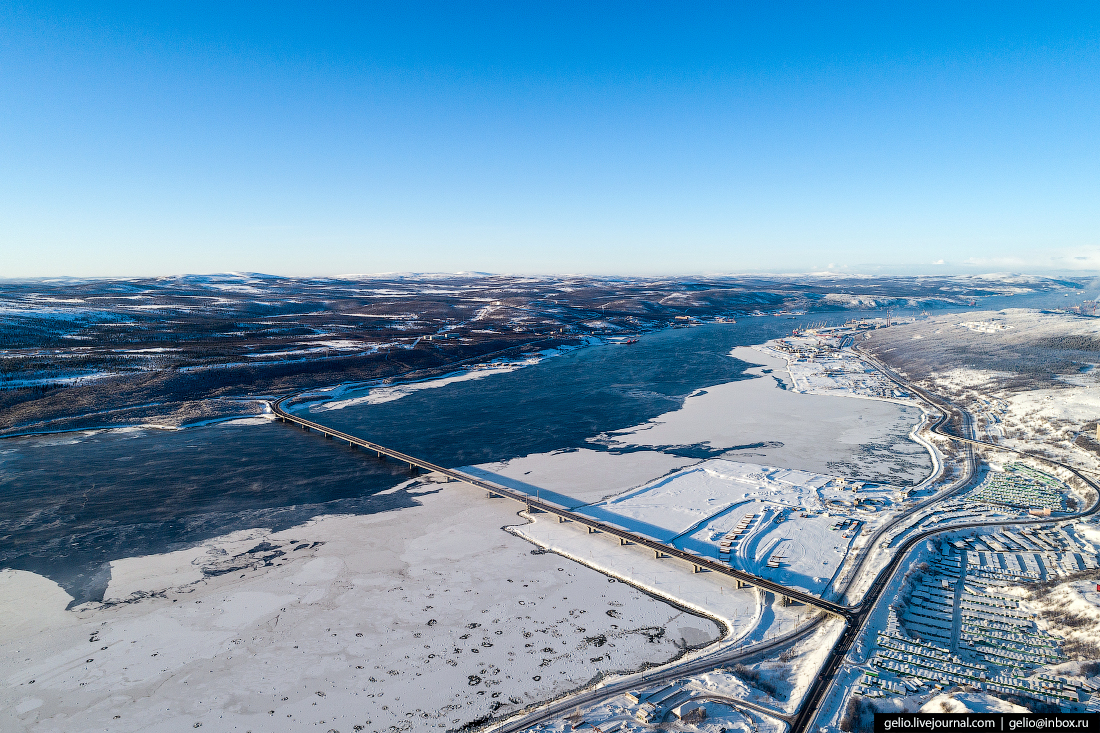 Мост через Кольский залив, фото Мурманска с высоты