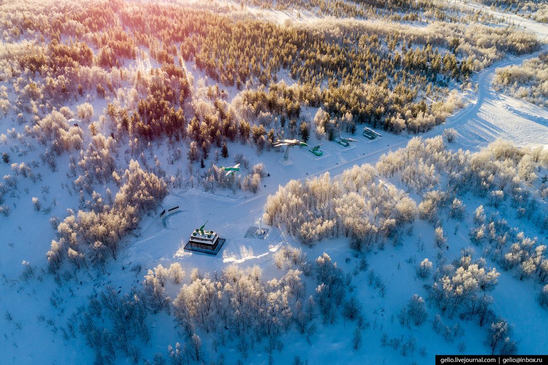 Мемориал воинам, абрам-мыс, фото Мурманска с высоты