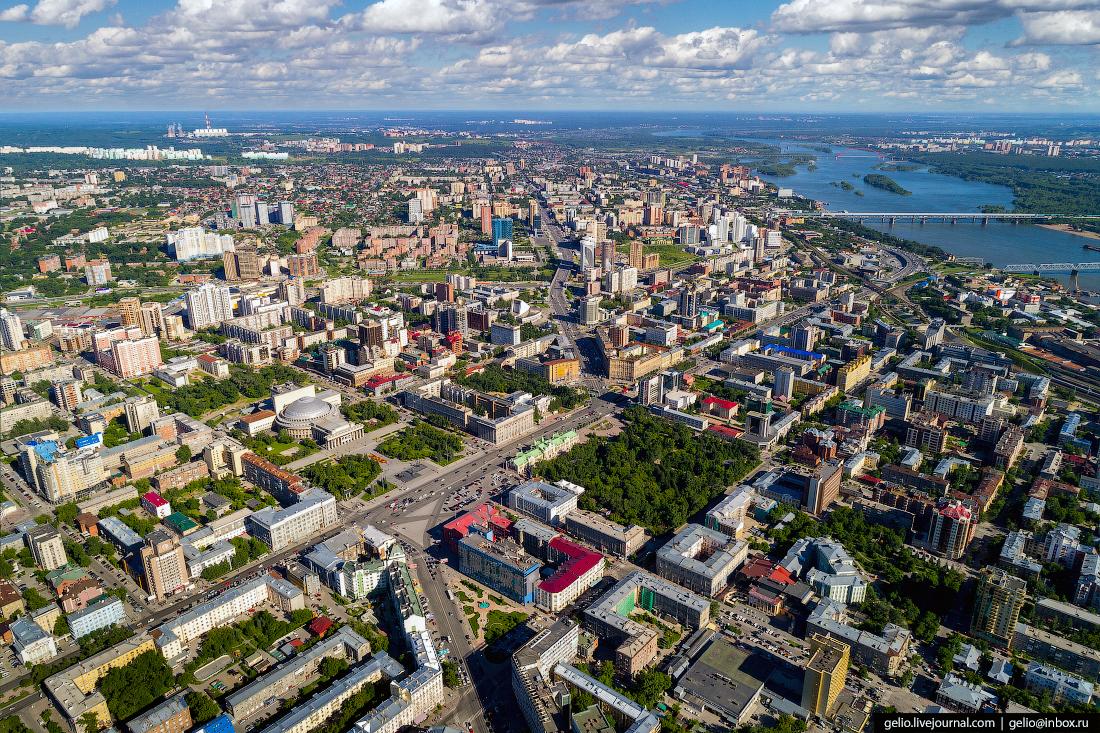 Новосибирск с высоты, площадь ленина
