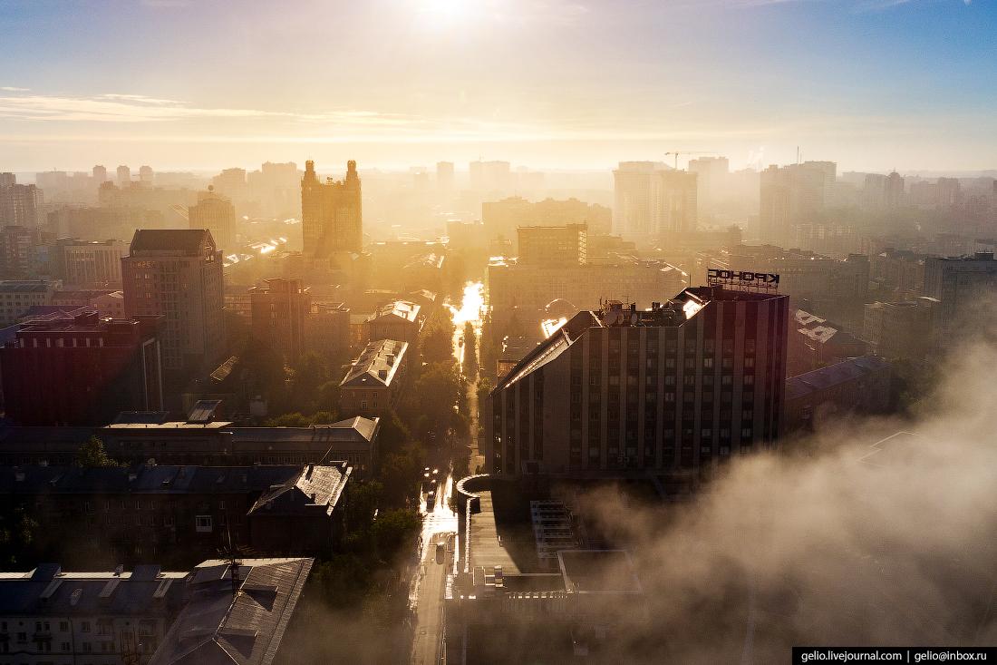 Новосибирск с высоты, кронос, туман