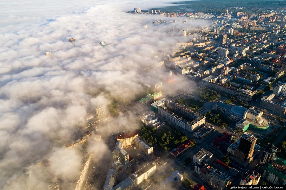 Новосибирск с высоты, туман