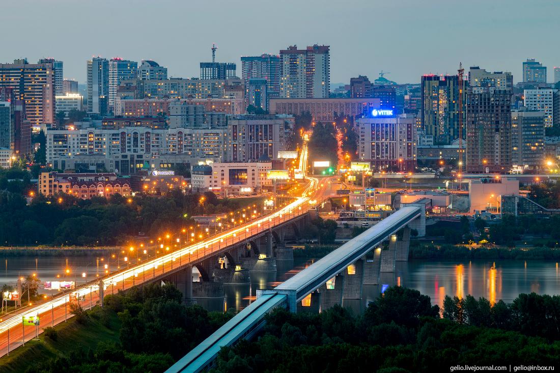 Новосибирск с высоты, метромост