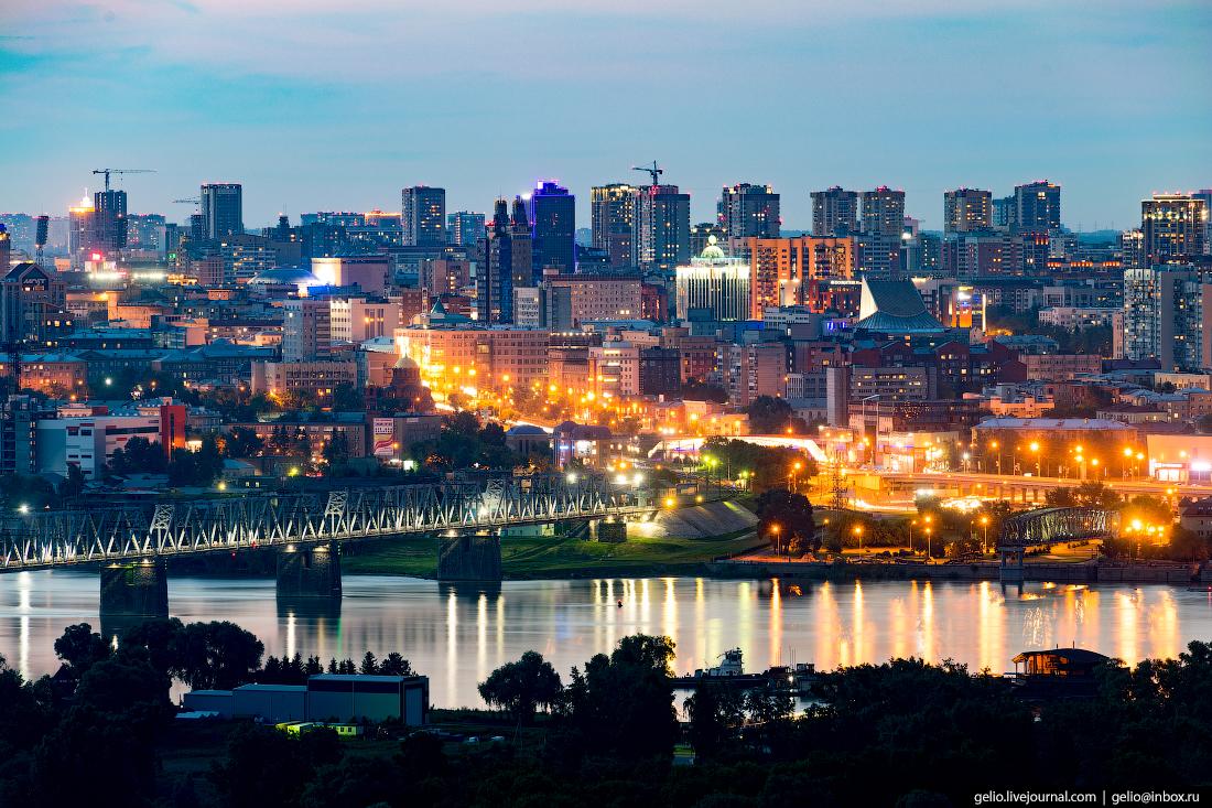 Новосибирск с высоты, железнодорожный мост