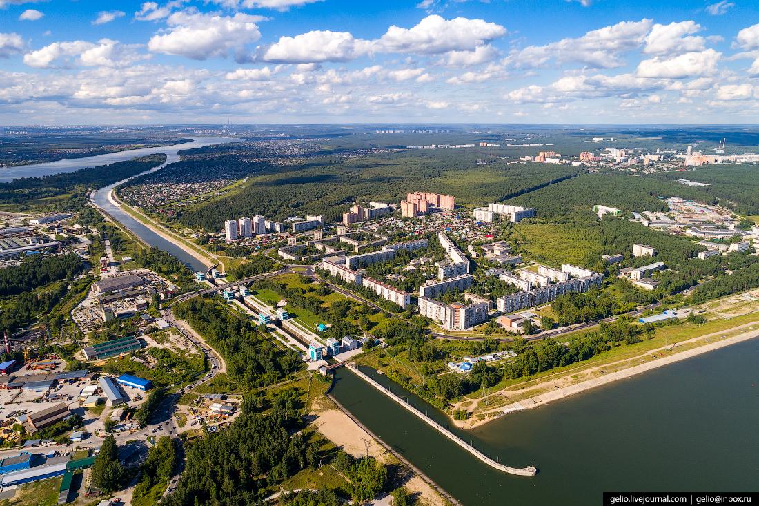 Новосибирск с высоты, шлюз