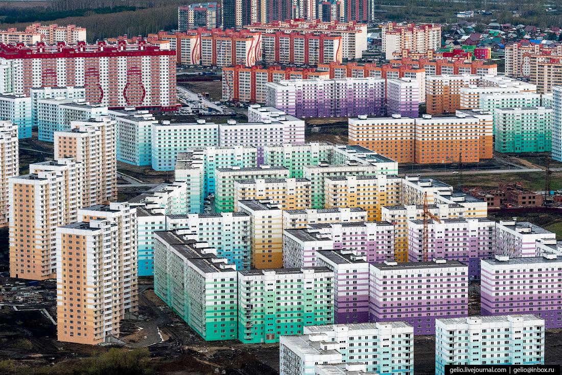 Новосибирск с высоты, микрорайон Просторный