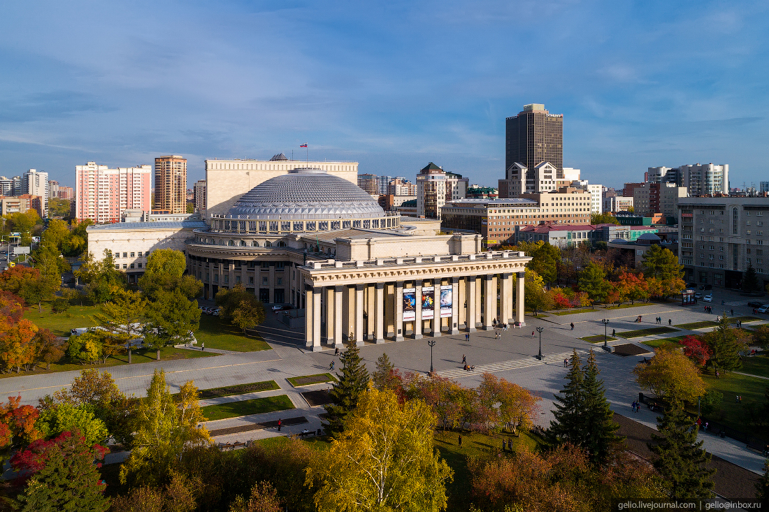 Большой купол оперного театра Фотографии Новосибирск с высоты