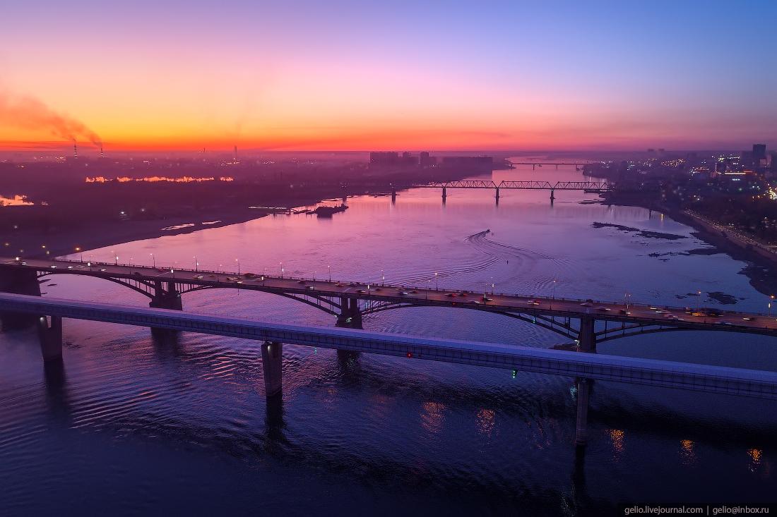 Мосты Фотографии Новосибирск с высоты